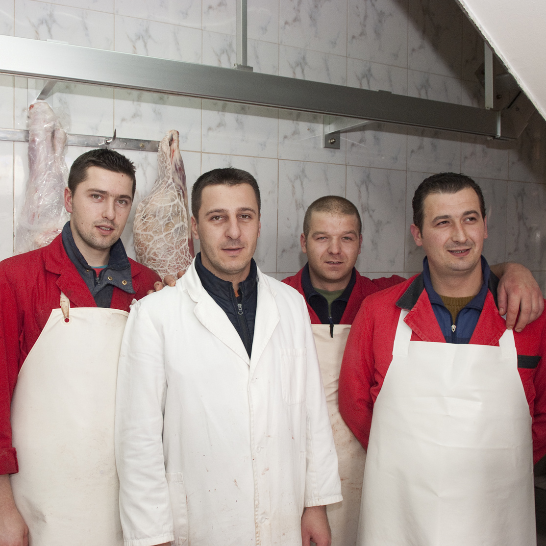 Portrait of butchers in Sarajevo, Bosnia